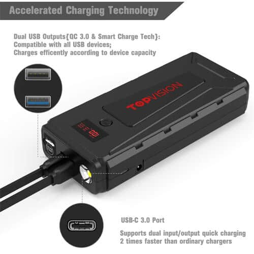 TOPVISION 2200A Peak 20800mAh Portable Car Power Pack -4