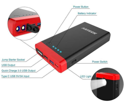 Arteck Car Jump Starter Auto Battery Charger-5