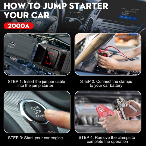 NEXPOW 2000A 18000mAh Car Jump Starter with USB Quick Charge 3.0-2