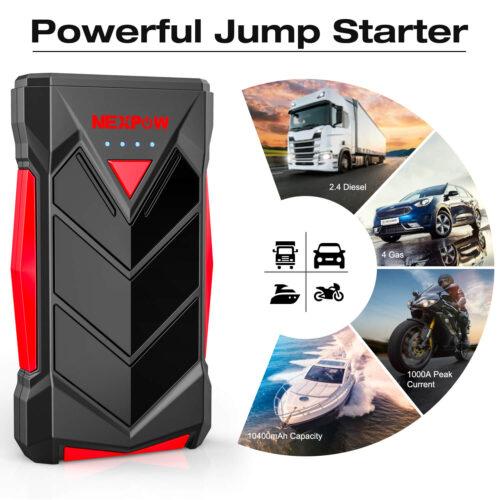 NEXPOW Car Battery Starter, 1000A Peak 12V Car Battery Jump Starter-2