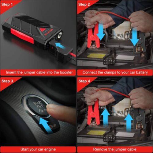 NEXPOW Car Battery Starter, 1000A Peak 12V Car Battery Jump Starter-5