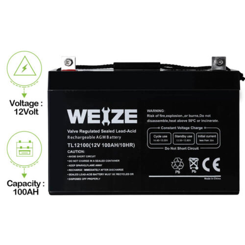 Weize 12V 100AH Deep Cycle AGM SLA VRLA Battery-3