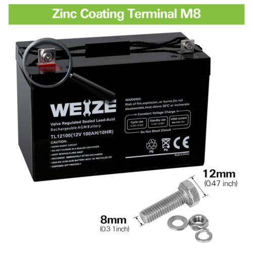 Weize 12V 100AH Deep Cycle AGM SLA VRLA Battery-4