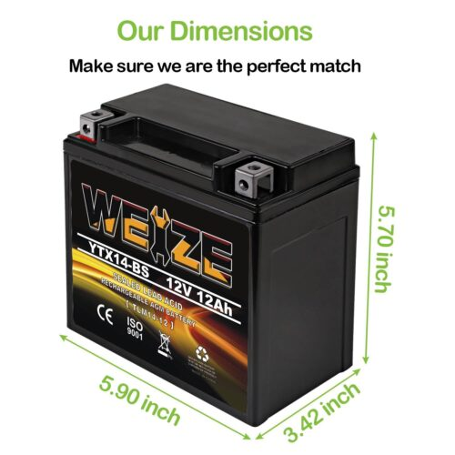 Weize YTX14 BS ATV Battery High Performance-1