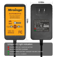 Mroinge 12V 2A Lead Acid & Lithium(LiFePO4) Automatic Trickle Battery Charger-1